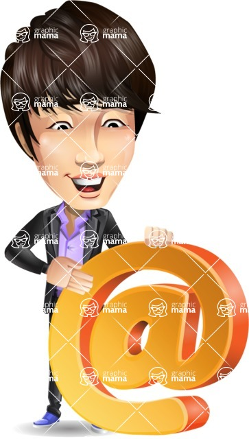 Fashionable Asian Man Cartoon Vector Character - with Email sign