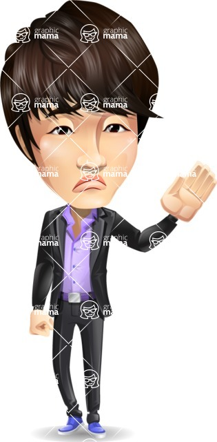 Fashionable Asian Man Cartoon Vector Character - Waving for Goodbye with a hand