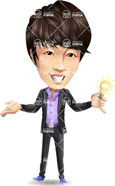 Fashionable Asian Man Cartoon Vector Character - with an Idea