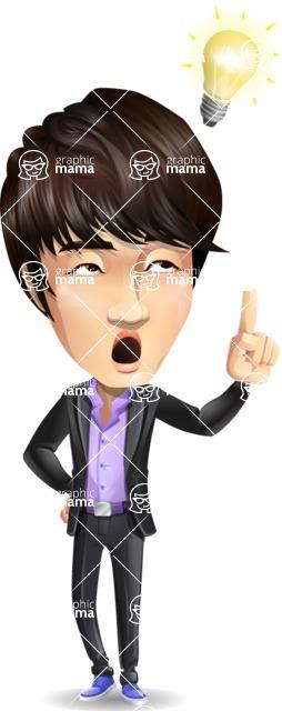Fashionable Asian Man Cartoon Vector Character - with a Light bulb