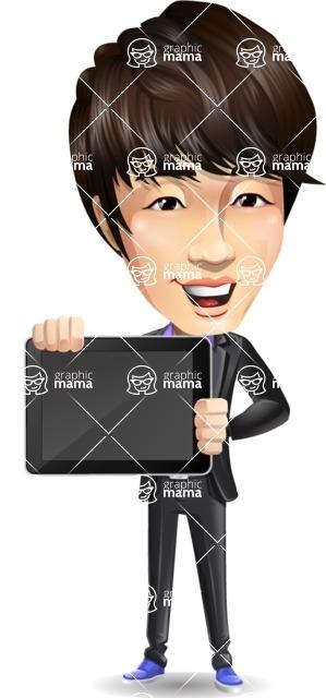 Fashionable Asian Man Cartoon Vector Character - Showing tablet