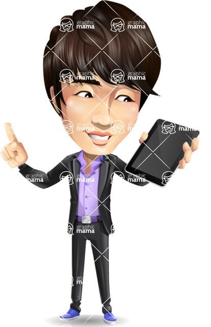 Fashionable Asian Man Cartoon Vector Character - Holding an iPad