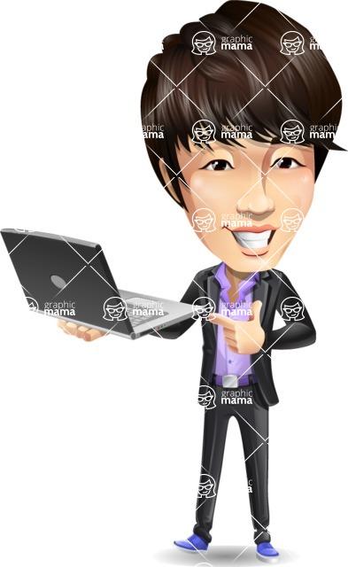 Fashionable Asian Man Cartoon Vector Character - Holding a laptop