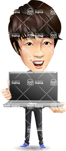 Fashionable Asian Man Cartoon Vector Character - Showing a laptop