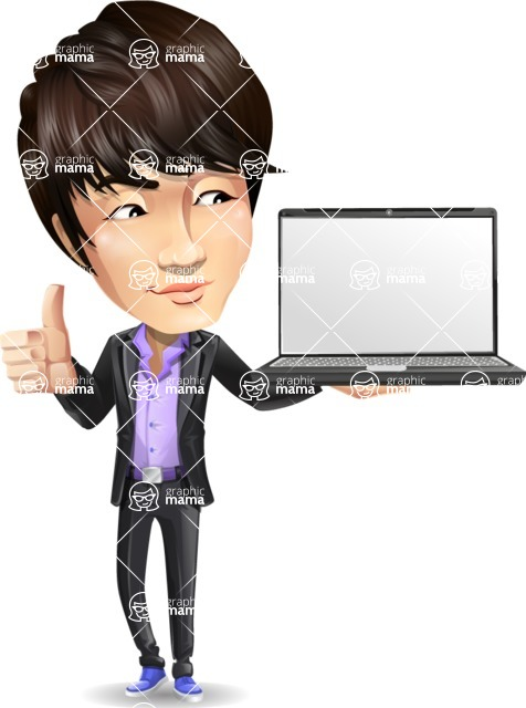 Fashionable Asian Man Cartoon Vector Character - Presenting on laptop