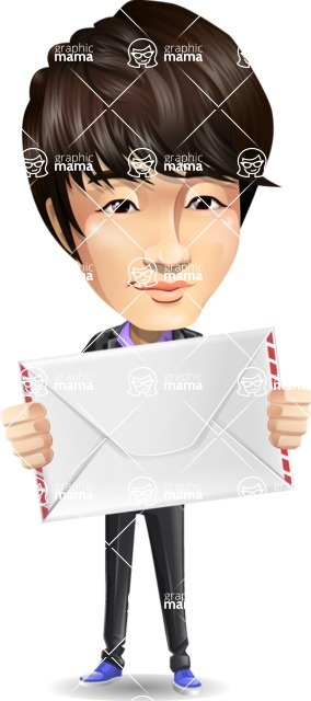 Fashionable Asian Man Cartoon Vector Character - Holding mail envelope