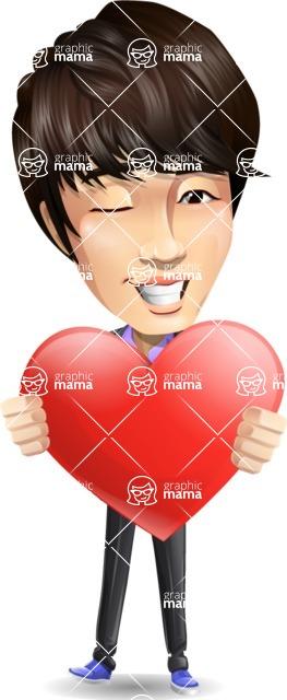 Fashionable Asian Man Cartoon Vector Character - Holding heart