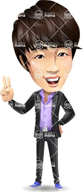 Fashionable Asian Man Cartoon Vector Character - Smiling