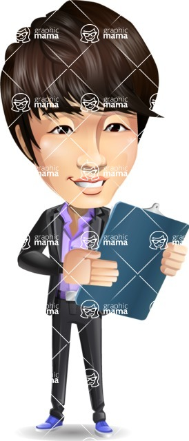 Fashionable Asian Man Cartoon Vector Character - Holding a notepad