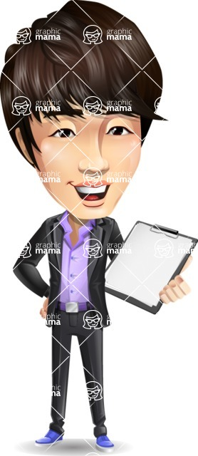 Fashionable Asian Man Cartoon Vector Character - Smiling and holding notepad
