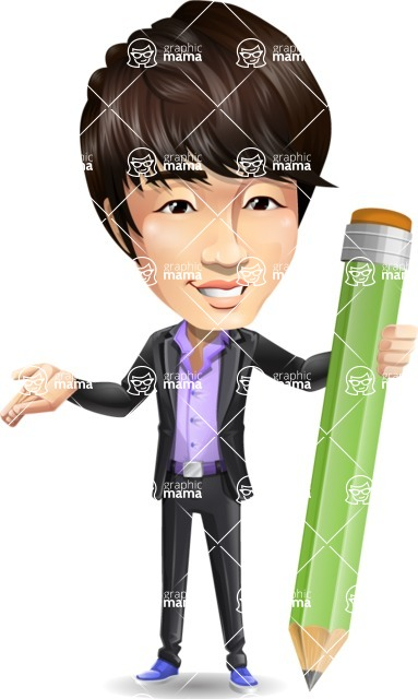 Fashionable Asian Man Cartoon Vector Character - Holding Pencil