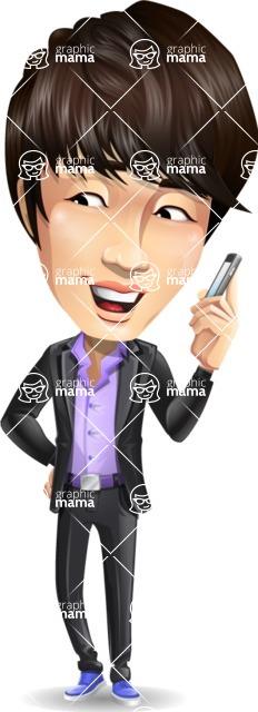 Fashionable Asian Man Cartoon Vector Character - Talking on smartphone