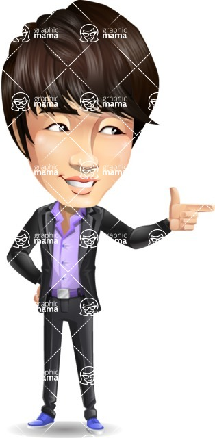 Fashionable Asian Man Cartoon Vector Character - Pointing with left hand