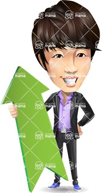 Fashionable Asian Man Cartoon Vector Character - with Up arrow