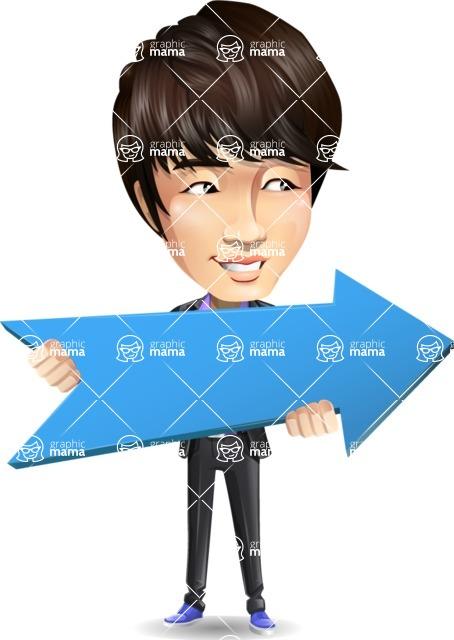 Fashionable Asian Man Cartoon Vector Character - with Positive arrow