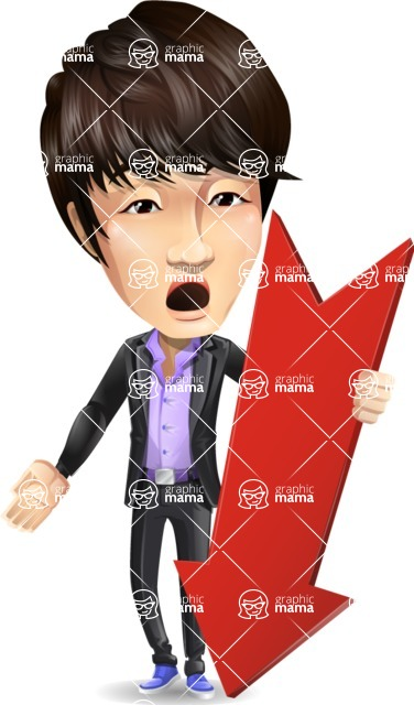 Fashionable Asian Man Cartoon Vector Character - with Arrow going Down