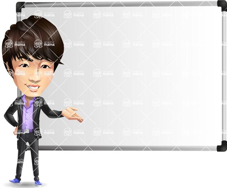 Fashionable Asian Man Cartoon Vector Character - Showing on Big whiteboard
