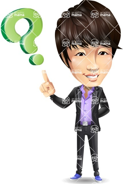 Fashionable Asian Man Cartoon Vector Character - with Question mark