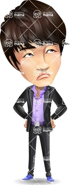 Fashionable Asian Man Cartoon Vector Character - Rolling Eyes