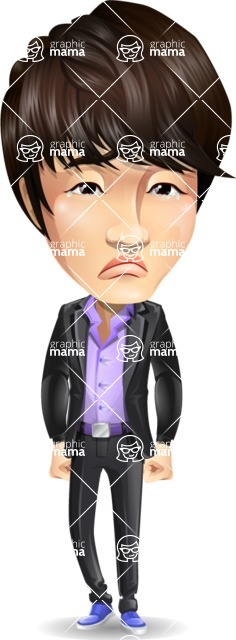 Fashionable Asian Man Cartoon Vector Character - with Sad face