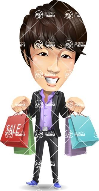 Fashionable Asian Man Cartoon Vector Character - Holding shopping bags