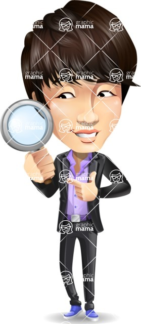 Fashionable Asian Man Cartoon Vector Character - Searching with magnifying glass