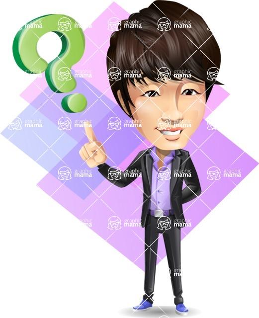 Fashionable Asian Man Cartoon Vector Character - Shape 11