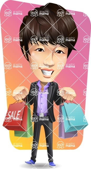 Fashionable Asian Man Cartoon Vector Character - Shape 12