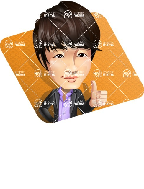 Fashionable Asian Man Cartoon Vector Character - Shape1