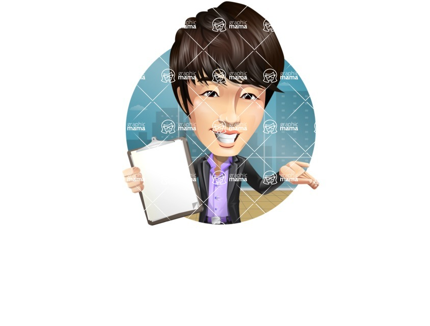 Fashionable Asian Man Cartoon Vector Character - Shape2