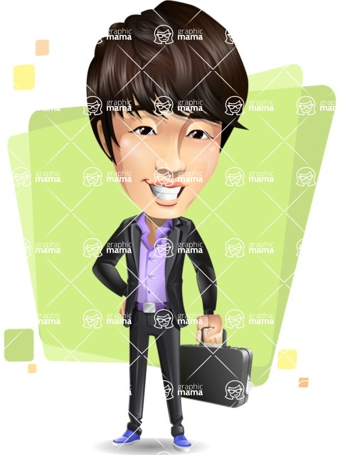 Fashionable Asian Man Cartoon Vector Character - Shape5