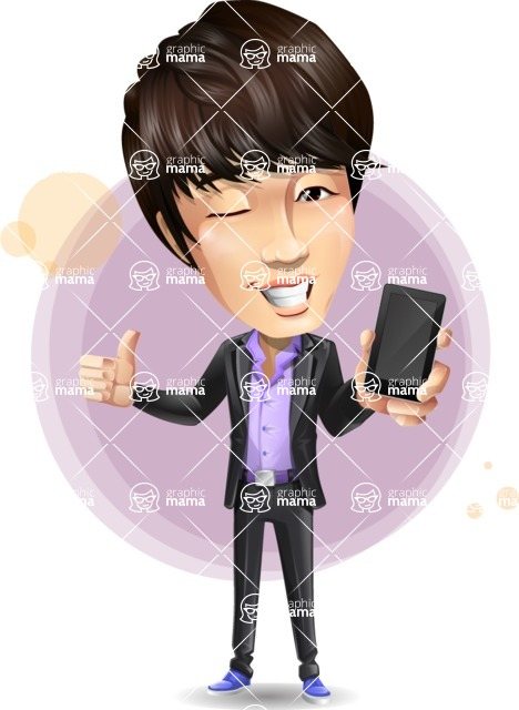 Fashionable Asian Man Cartoon Vector Character - Shape7