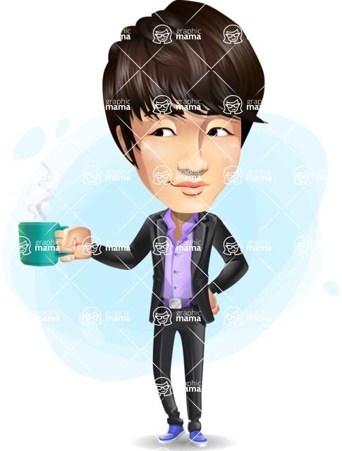 Fashionable Asian Man Cartoon Vector Character - Shape9