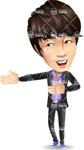 Fashionable Asian Man Cartoon Vector Character - Presenting with both hands