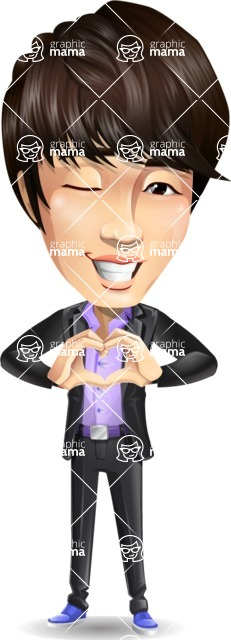 Fashionable Asian Man Cartoon Vector Character - Showing Love