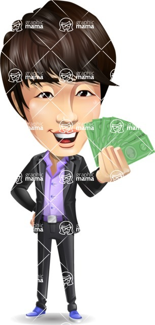 Fashionable Asian Man Cartoon Vector Character - Holding Money