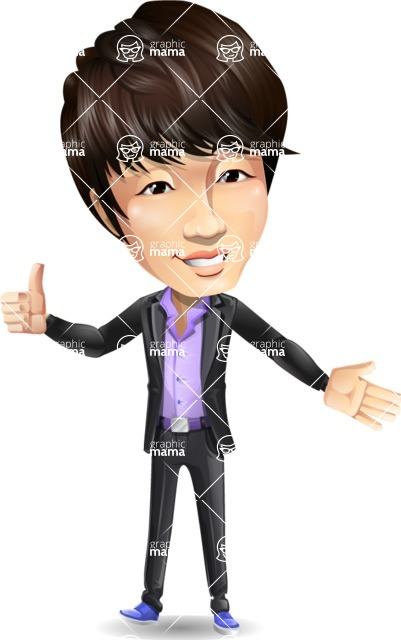 Fashionable Asian Man Cartoon Vector Character - Showing with left hand