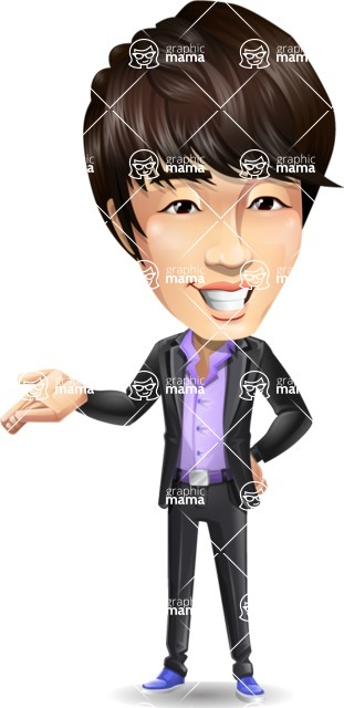 Fashionable Asian Man Cartoon Vector Character - Showing with right hand