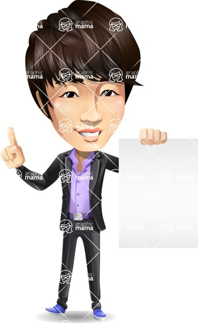 Fashionable Asian Man Cartoon Vector Character - with a Blank paper