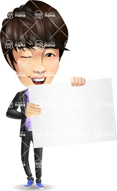 Fashionable Asian Man Cartoon Vector Character - Holding a Blank banner