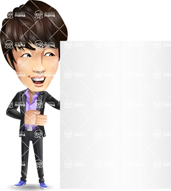 Fashionable Asian Man Cartoon Vector Character - Showing Big Blank banner