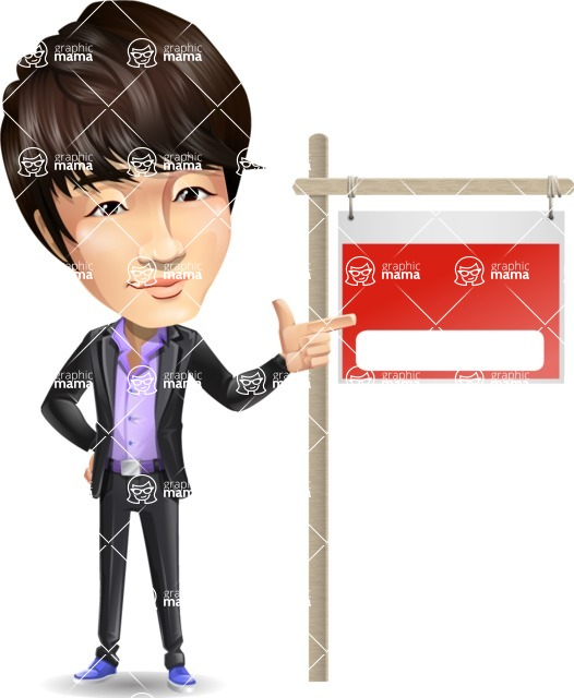 Fashionable Asian Man Cartoon Vector Character - with Blank Real estate sign