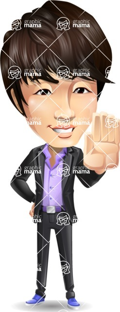 Fashionable Asian Man Cartoon Vector Character - Making stop with a hand
