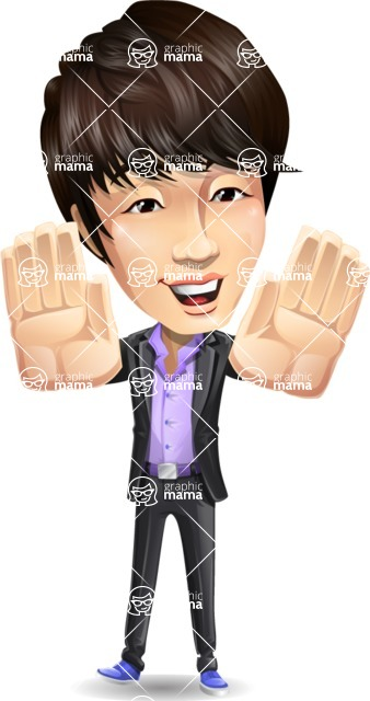 Fashionable Asian Man Cartoon Vector Character - Making stop gesture with both hands