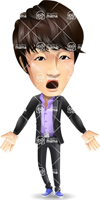 Fashionable Asian Man Cartoon Vector Character - with Stunned face