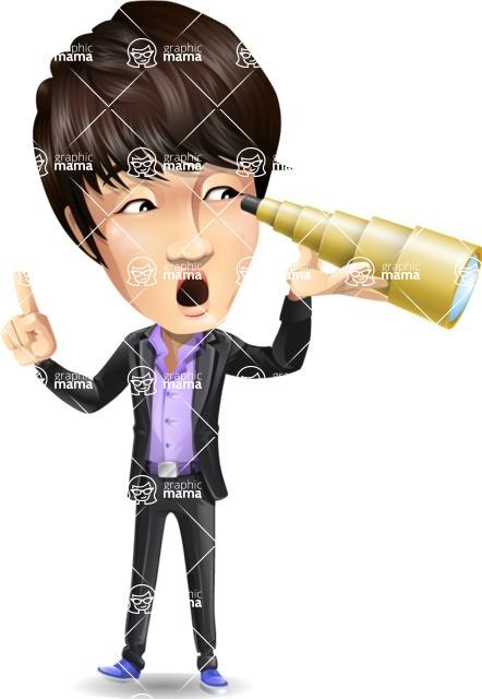 Fashionable Asian Man Cartoon Vector Character - Looking through telescope