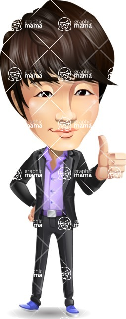 Fashionable Asian Man Cartoon Vector Character - Making Thumbs Up
