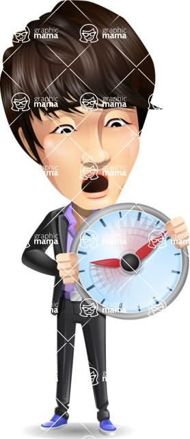 Fashionable Asian Man Cartoon Vector Character - Holding clock