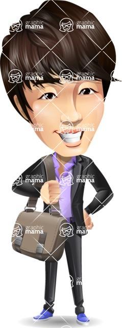 Fashionable Asian Man Cartoon Vector Character - Traveling