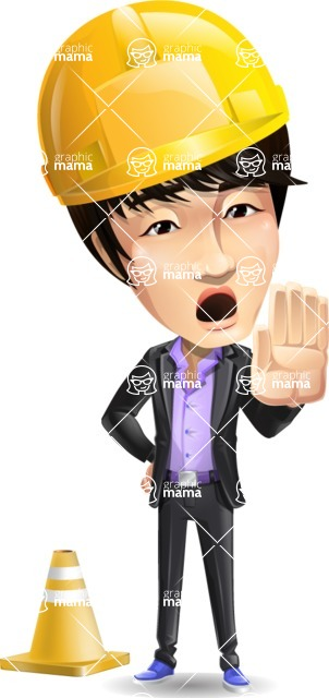 Fashionable Asian Man Cartoon Vector Character - as a Construction worker
